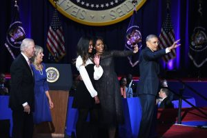 President Barack Obama, joined by his family and Vice President Joe Biden and his wife, says farewell to America on Tuesday, Jan. 10 during their visit to Chicago. (Travis Riddick/The Washington Informer)