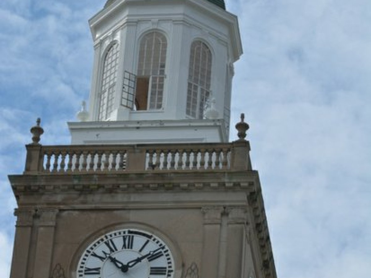 The famous clock tower located on top of the Founders Library on the campus of Howard University in Northwest. /Photo by Patricia Little @5feet2
