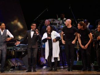 "From left to right: BJ the Chicago Kid, Kenneth Babyface Edmonds, Whoopi Goldberg, and the Manzari Brothers appear on stage for the concert finale at the Kennedy Center Spring Gala entitled, ""How Sweet It Is: A Tribute to Marvin Gaye,"" on Sunday, June 5th in Northwest. /Photo by Patricia Little"