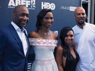 (From left to right) ABFF Founder Jeff Friday and wife Nicole; ABFF's celebrity ambassador Common and actress Danielle Nicolet attend the opening night film and red carpet event during the 20th Annual American Black Film Festival on Wednesday, June 15 in Miami, FL. /Photo by Patricia Little @5feet2