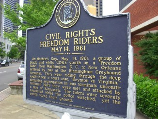 A plaque commemorating the Freedom Riders, a group civil rights activists, in Birmingham, Alabama
