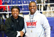Howard University men's basketball head coach Kevin Nickelberry greets famed high school basketball coach Ken Carter, better known as Coach Carter, at Howard University on Saturday, Oct. 22. /Photo by Shevry Lassiter
