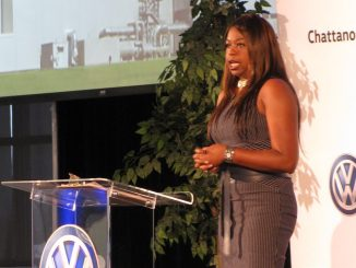 KeeKee Mathis, supplier diversity manager for Volkswagen Group of America, emcees the 2016 Volkswagen Chattanooga's Partnering for Success Conference. (Courtesy photo)