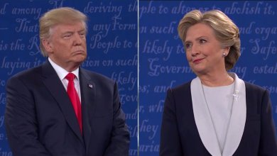 Donald Trump spent much of the 90-minute debate Sunday stalking Hillary Clinton onstage, hovering as she responded to questions. /Courtesy photo