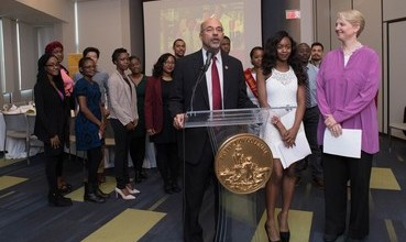 Officials from UDC and the mayor's office announce a new partnership aimed at adult learners. (Courtesy of dc.gov)