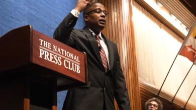 Malik Zulu Shabazz speaks during a town-hall style debate against Princeton University professor Cornel West at the National Press Club in northwest D.C. on Feb. 21. (Travis Riddick/The Washington Informer)