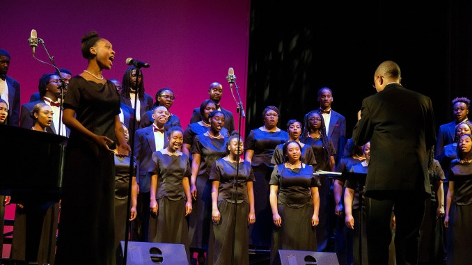 The Tuskegee University Golden Voices Choir performs various soul stirring spirituals during the 2017 Spring Concert Tour in the theater of the Town Hall Education Arts Recreation Center in Southeast on March 11. (Mark Mahoney)
