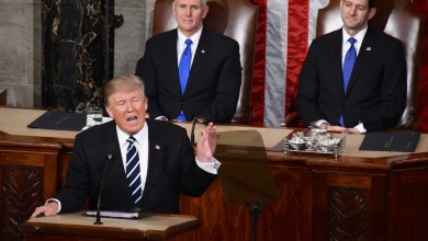 President Trump speaks to the Joint Session of Congress while Vice President Pence and House Speaker Ryan listen. (Travis Riddick/The Washington Informer)