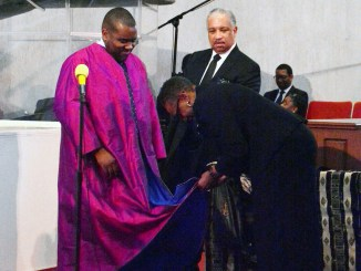 Rev. Darryl D. Roberts is installed as the fifth pastor of the nearly 200-year-old Nineteenth Street Baptist Church in Northwest on February 19. (Roy Lewis/The Washington Informer)