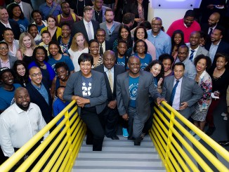 From left: D.C. Mayor Muriel Bowser, Howard University's Provost and Chief Academic Officer Dr. Anthony Wutoh and Aaron Saunders CEO of Clearly Innovative/Luma Lab enjoy a group photo during the inauguration of In3, the District's first affordable community space focused on inclusion, innovation and incubation in Northwest on April 20. (Lateef Mangum/The Washington Informer)