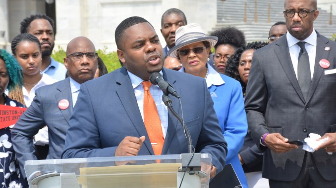 North Carolina A&T alumni Robert Stevens speaks during a rally on Capitol Hill seeking expanded support from Congress for historically black colleges and universities on April 27. (Roy Lewis/The Washington Informer)