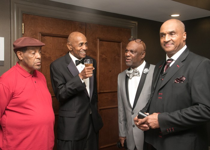 (L-R) James Harris, class of '69 and 2015 inductee, Mike Flood, class of '70 and 2012 inductee, Tommy Lee, and Ed Cage, class of '70 and 2017 inductee at the 8th Annual Cardozo All-Met Hall of Fame Awards Dinner held on April 30, 2017 in Upper Marlboro.