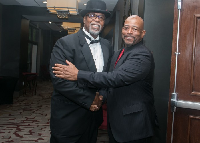 John Gartrell, class of '72 and Willie Gartrell, class of '71 are inducted into the 2017 Cardozo All-Met Hall of Fame during the 8th Annual Awards Dinner in Upper Marlboro, Md., April 30, 2017. /Photo by Shevry Lassiter