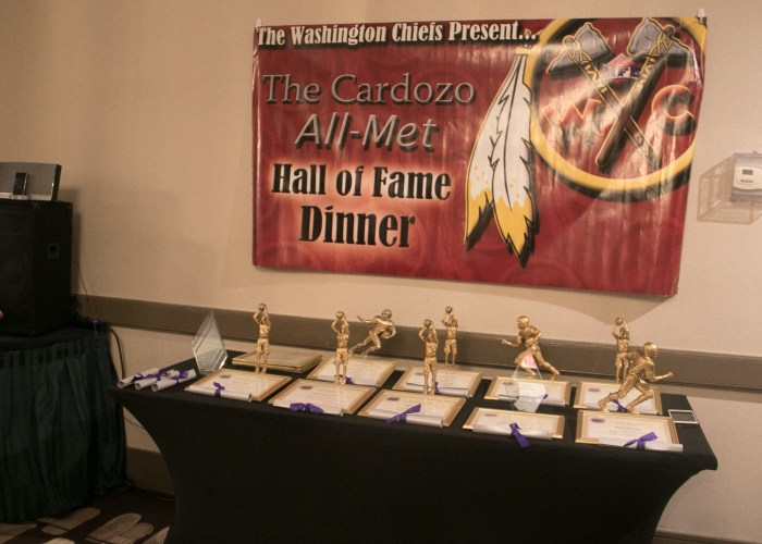 The trophy table at the 8th Annual Cardozo All-Met Hall of Fame Awards Dinner in Upper Marlboro, Md., April 30, 2017. /Photo by Shevry Lassiter
