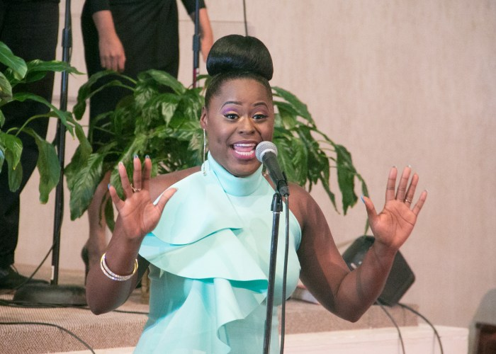 Gospel artist Jessica Greene performs at the LM Foundation's domestic violence awareness concert held at Nineteenth Street Baptist Church in Northwest on May 6, 2017/Photo by Shevry Lassiter
