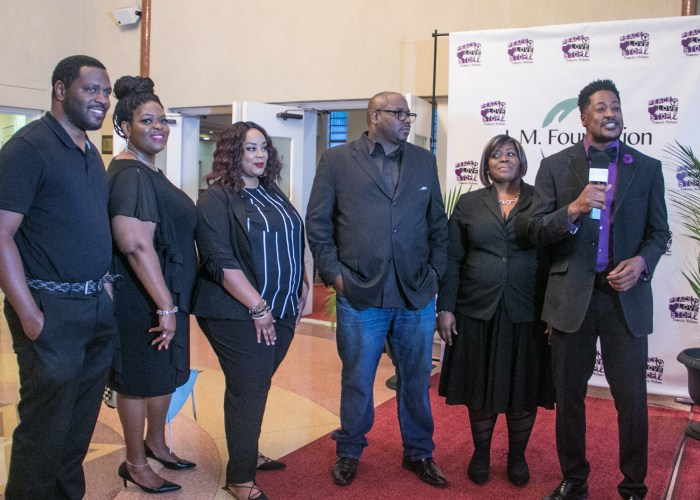 CAS (3rd left) and members of his singing group speak with a broadcaster after their performance during the LM Foundation's domestic violence awareness concert held at Nineteenth Street Baptist Church in Northwest on May 6, 2017/Photo by Shevry Lassiter