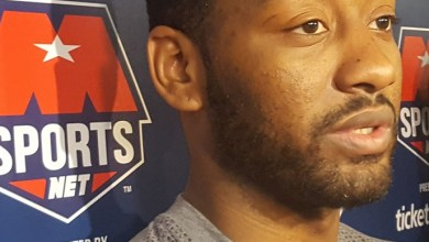Washington Wizards point guard John Wall speaks to reporters after practice at the Verizon Center in D.C. on May 9 before the team heads to Boston for Game 5 of its Eastern Conference semifinal series against the Celtics. (William J. Ford/The Washington Informer)