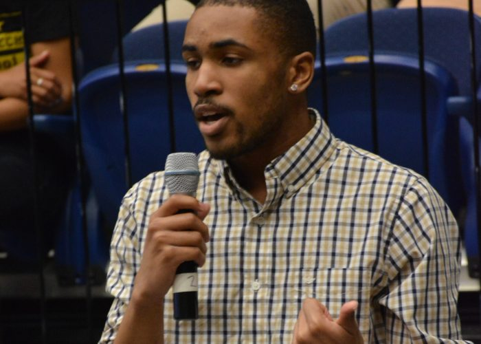 Cameron Noel, a senior at Duke Ellington School of the Arts announces his acceptance at Sewanee University in Tennessee during the DC College Day Signing on Friday, April 28, 2017 at George Washington University's Smith Hall in Northwest. /Photo by Roy Lewis