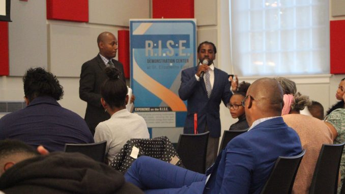 D.C. Council member Trayon White (Ward 8) speaks during a meeting to address the city's fiscal 2018 budget proposal at the R.I.S.E. Demonstration Center in Southeast on June 8. (Noni Marshall/The Washington Informer)