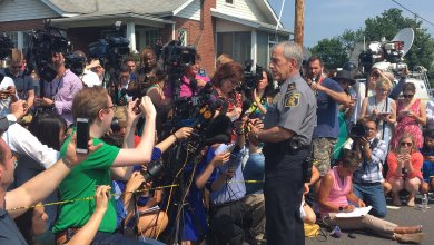Alexandria Police Chief MIchael Brown updates media on the June 14 shooting at an Alexandria baseball field that left four wounded, including GOP Rep. Steve Scalise. (Courtesy of Alexandria Police Department via Twitter)