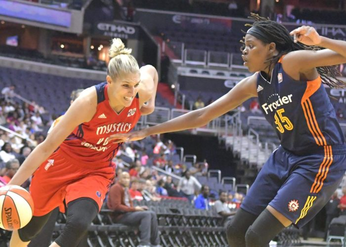 Mystics forward Elina Delle Donne drives past Sun forward Jonquel Jones during the Mystics 78-76 win at Verizon Center in Northwest on Wednesday, May, 31./Photo by John E. De Freitas