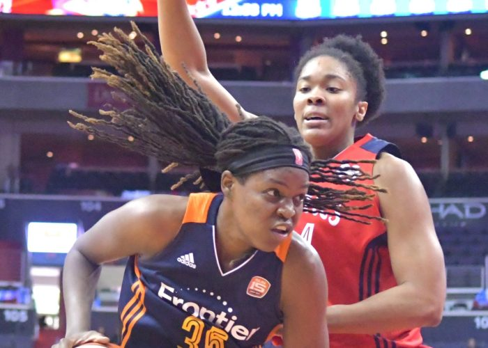 Sun forward Jonquel Jones drives past Mystics center Krystal Thomas during the Mystics 78-76 win at Verizon Center in Northwest on Wednesday, May 31./Photo by John E. De Freitas