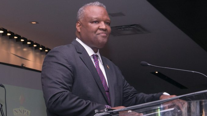 At the first stop on the campaign trail on the road to Governor of Maryland, Rushern Baker speaks to publishers attending the National Newspaper Publishers Association 2017 annual convention held at the Gaylord National Resort and Convention Center in National Harbor, Maryland on June 21. (Photo by Shevry Lassiter - The Washington Informer)