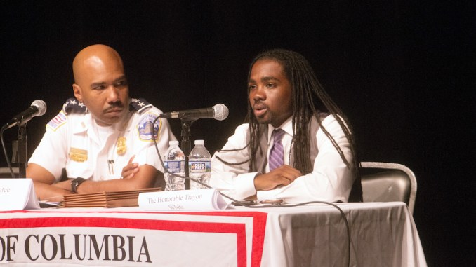 Ward 8 Patrol Chief Robert Contee and Ward 8 Council member Trayon White during the Violence Prevention Town Hall held at THEARC auditorium in Southeast on July 19, 2017. (Mark Mahoney - The Washington Informer)
