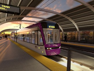 A rendering of Maryland's Purple Line light-rail project (Courtesy of traylor.com)
