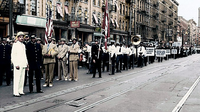 The Parade of Brothers march in New York City in the early 20th century. (Courtesy of Smithsonian Channel)