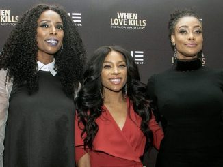 "From left: Actresses Tasha Smith, Niatia ""Lil' Mama"" Kirkland and Tami Roman on the red carpet at TV One's premiere of ""When Love Kills"" at Newton White Mansion in Mitchellville, Md., on Aug. 14. (Shevry Lassiter/The Washington Informer)"