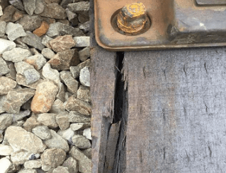 Inspectors found cracked wood along a track near the Greenbelt Metro station during a May 1 inspection. (Courtesy of the Federal Transit Administration)