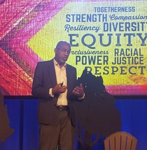 David R. Williams, a Harvard professor of public health and sociology, gives a keynote speech at the 21st annual United States Conference on AIDS at the Marriott Marquis in northwest D.C. on Sept. 7. (William J. Ford/The Washington Informer)