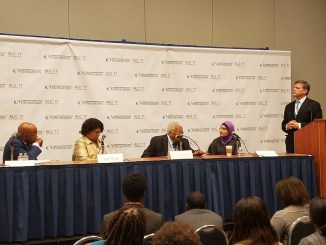 Rep. John Lewis (left) hosts a discussion on how to sustain hope during turbulent times at the Congressional Black Caucus Foundation's 47th annual legislative conference in northwest D.C. on Sept. 20. (William J. Ford/The Washington Informer)