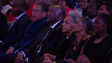 Lillian Gregory (second from right) sits with family members during the Dick Gregory Celebration of Life service on Sept. 16 at the City of Praise Family Ministries in Landover, Md. (Lateef Mangum/The Washington Informer)