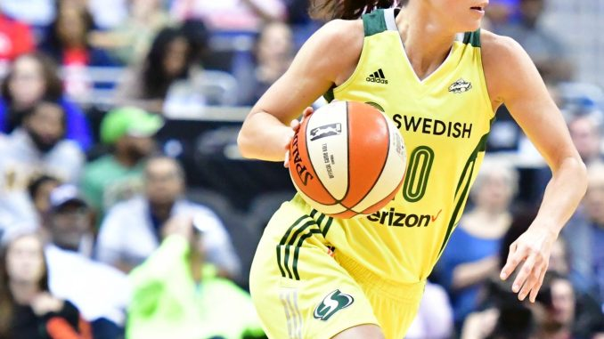 Seattle Storm guard Sue Bird broke the WNBA's all-time assists record against the Washington Mystics at Capital One Arena in D.C. on Sept. 1. (John De Freitas/The Washington Informer)