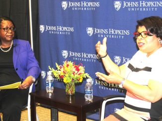 Tracey Reeves interviews April Ryan on the campus of Johns Hopkins University in Baltimore. (Timothy Cox)