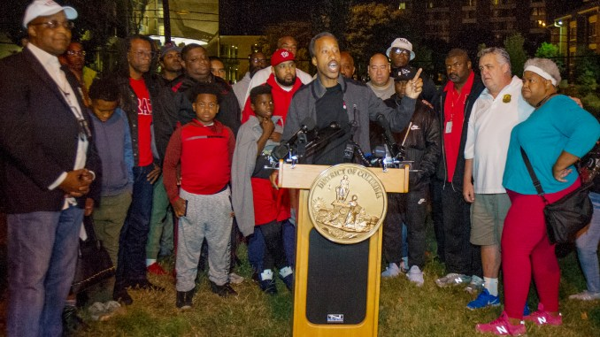 D.C. Council member Kenyon McDuffie addresses the media before the start of his Community Sleep Out for Peace, Solidarity, Solutions and Walk in northeast Washington. (Lateef Mangum/The Washington Informer)