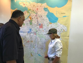 The Rev. Jesse L. Jackson Sr. tours Puerto Rico on Oct. 14, weeks after Hurricane Maria ravaged the island. (Courtesy of Chinta Strausberg)