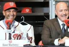 Dave Martinez (left) and Washington Nationals general manager Mike Rizzo share a laugh during a Nov. 2 news conference at the team's southeast D.C. clubhouse to introduce Martinez as the Nationals' new manager. (John De Freitas/The Washington Informer)