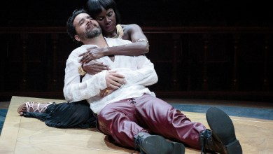 "Cleopatra (Shirine Babb) gives comfort to a dying Mark Antony (Cody Nickell) in Folger Theatre's production of Shakespeare's ""Antony and Cleopatra."" (Photo by Teresa Wood)"