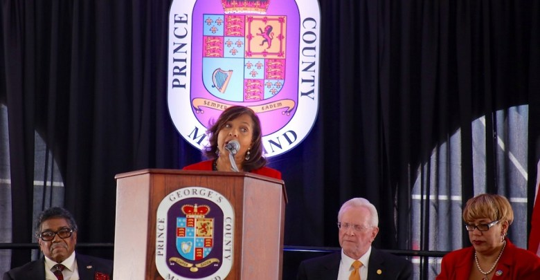 Glenda Wilson, chief of staff for Prince George's County Executive Rushern L. Baker III, speaks at a Dec. 21 ceremony to name a county building after the late county Executive Wayne Curry, who Wilson also served under as chief of staff. (Demetrious Kinney/The Washington Informer)