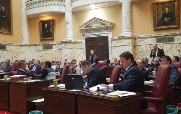 The Maryland Senate votes during a Jan. 12 session of the state's General Assembly to override Gov. Larry Hogan's veto of a paid sick-leave bill. (William J. Ford/The Washington Informer)