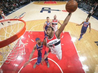 Washington Wizards guard John Wall goes up for a dunk during a 121-103 home win over the New York Knicks on Jan. 3. (Courtesy of the Wizards via Twitter)