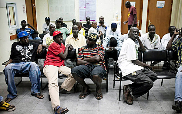 African immigrants and asylum seekers occupy a holding center in Holon, Israel. (Courtesy of activestills.org)