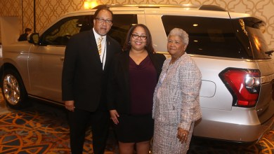 From left: Dr. Benjamin F. Chavis Jr., the president and CEO of the NNPA, Renah Carlisle, the sales zone manager for Ford's Phoenix Region, and Dorothy Leavell, the chairman of the NNPA pose for a photo during the 2018 NNPA Mid-Winter Conference in Las Vegas. (Marty Frierson/NNPA)