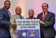 From left: Derrick Johnson, president and CEO of the NAACP; Leon Russell, the chairman of the NAACP; Dorothy Leavell, the chairman of the NNPA, and Dr. Benjamin F. Chavis Jr., president and CEO of the NNPA sign a strategic partnership agreement to join forces in focusing on key issues that affect the Black community, during the 2018 NNPA Mid-Winter Conference in Las Vegas. (Freddie Allen/AMG/NNPA)