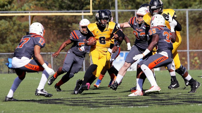 Bowie State University junior quarterback Amir Hall took home the Deacon Jones Award at the 2018 Black College Hall of Fame induction ceremony in Atlanta on Feb. 10. (Daniel Kucin Jr./The Washington Informer)