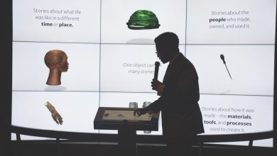 Google engineer Travis McPhail demonstrates an exhibit which allows visitors to interact with objects that have been scanned and made available in 3D representations at the National Museum of African American History and Culture. (Shevry Lassiter/The Washington Informer)