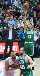 Boston Celtics forward Jayson Tatum shoots a jumper in the first quarter of the Celtics' 110-104 victory at Capital One Arena in D.C. on Feb. 8. (John De Freitas/The Washington Informer)